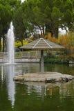 伞和喷泉在池塘 免版税库存照片