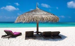 伞和太阳椅子在Maldivian海滩 免版税库存图片