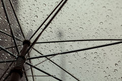 伞和雨下落 免版税库存照片