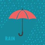 伞和雨背景 库存图片