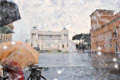 伞和雪在威尼斯广场 免版税图库摄影