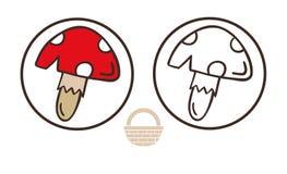伞形毒蕈muscaria蘑菇象 伞菌传染媒介的动画片例证网络设计的 免版税图库摄影