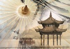 伞背景和中国湖 免版税图库摄影