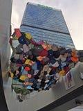 伞艺术-伞革命在中央,香港 库存图片