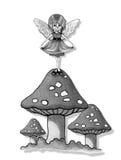 伞菌的小神仙的女孩,原始的铅笔艺术 免版税库存照片