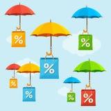 伞销售概念 向量 免版税库存图片