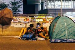 伞革命在香港2014年 库存照片