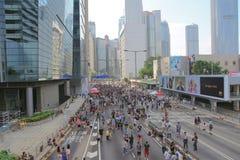 伞革命香港10月1日2014年 库存图片