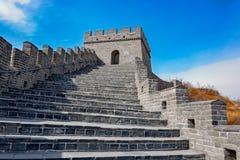 伟大的中国墙壁古老石台阶  免版税库存照片