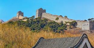 伟大的中国墙壁的九门口零件 免版税库存照片