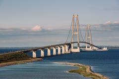 伟大的传送带桥梁在丹麦 免版税库存图片