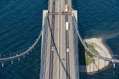 伟大的传送带桥梁在丹麦 免版税库存照片