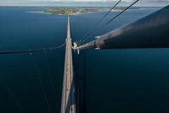 伟大的传送带桥梁在丹麦 库存照片