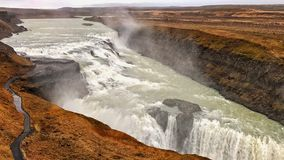 伟大的冰岛瀑布,冰岛 免版税库存照片