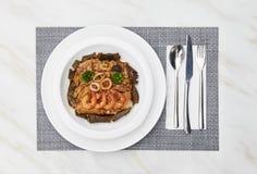伟大的口味海鲜炒饭33 免版税库存照片