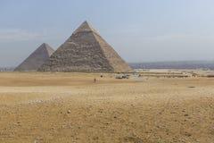 伟大的埃及金字塔在吉萨棉,开罗 图库摄影