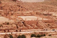 伟大的寺庙废墟在Petra的 免版税库存照片