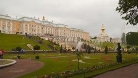 伟大的小瀑布和伟大的宫殿的看法Peterhof的 影视素材