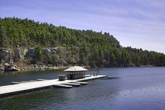 伟大的户外世界地球日-湖和树 免版税库存图片