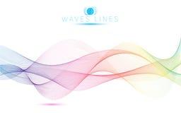 伟大的明亮彩虹波浪五颜六色的梯度光混合的线 免版税库存图片