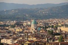 伟大的犹太教堂佛罗伦萨的看法 免版税库存图片