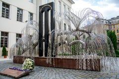 伟大的犹太教堂在布达佩斯,浩劫博物馆犹太树 免版税库存照片