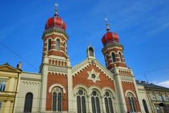 伟大的犹太教堂, od建筑学, Pilsen,捷克 免版税库存照片