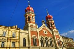 伟大的犹太教堂, od建筑学, Pilsen,捷克 库存图片