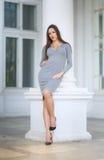 伟大的白色专栏背景的一名华美的妇女  户外一双灰色礼服和黑鞋子的美丽的夫人 库存照片