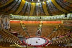 伟大的莫斯科状态马戏的空的大厅 免版税库存照片