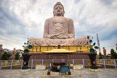 伟大的菩萨雕象在Bodhgaya,印度 免版税库存图片