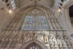 伟大的西部窗口告诉了约克夏的Heart,被安装在约克座堂里面的教堂中殿,英国 图库摄影