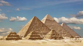 伟大的金字塔的Timelapse在吉萨棉谷,开罗,埃及的