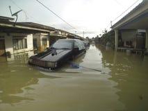 伟大的洪水击中了城市 库存图片