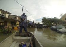 伟大的洪水碰撞城市 库存照片