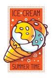 伟大的黄色冰淇凌的传染媒介例证 免版税库存图片
