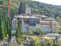伟大的athos拉夫拉修道院圣洁登上  希腊 免版税库存照片