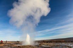 伟大的Geysir,喷泉在冰岛 库存图片
