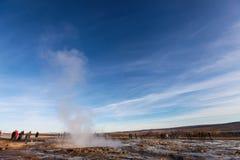 伟大的Geysir,喷泉在冰岛 库存照片