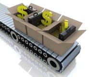传动机有金制马上的齿龈和美元的符号的纸板箱 免版税图库摄影