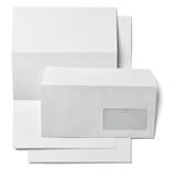 传单信件名片白色白纸模板 免版税库存图片