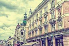 传奇餐馆议院门面在利沃夫州 库存图片