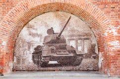 传奇T-34坦克 老前线照片马赛克  免版税图库摄影