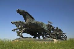 传奇Tachanka纪念碑在Kahovka 库存照片