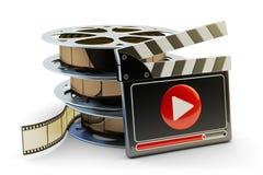 传媒播放装置和录象剪辑生产概念 库存图片