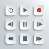 传媒播放装置控制按钮ui象集合 免版税库存图片