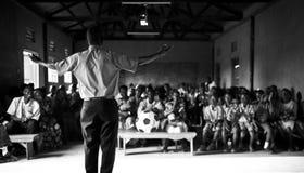 传教者在学校在乌干达 免版税图库摄影