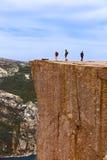 传教者讲坛岩石在海湾Lysefjord -挪威 库存图片