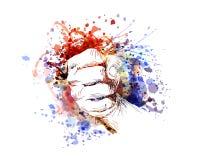传染媒介一只握紧的手的彩色插图 图库摄影