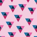 传染媒介三角无缝的样式背景抽象无缝的样式 模式无缝的三角 蓝色粉红色 库存例证